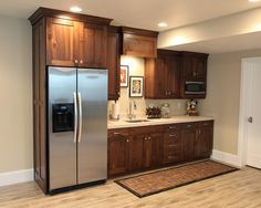 basement traditional basement kitchens also brown wooden kitchen cabinet also stainless double door refrigerator also