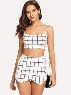 Start viewing the Grid Crop Cami Top & Overlap Front Shorts Set online now in just a few moments. Lace Top Outfits, Casual Skirt Outfits, Classy Outfits, Cool Outfits, Summer Outfits, Fashion Outfits, Womens Fashion, Cropped Cami, Cami Crop Top