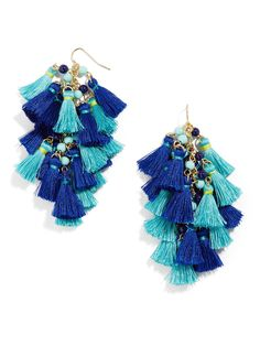 Dance the night away in these playful tassel earrings that feature cool blue hues and delicate beadwork. This trendy silhouette shows well with pulled-back hair and wavy locks alike.