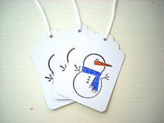 Christmas Gift Tags Snowman Colored Scarf - LilpaperBoutique