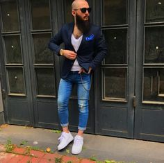 Cool style with a tee, blazer and pocket square.