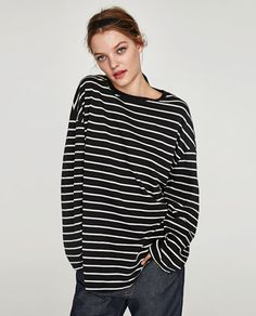 BASIC OVERSIZED T-SHIRT-Long Sleeve-T-SHIRTS-WOMAN | ZARA Norway Zara, Latest T Shirt, Long Sleeve Shirts, T Shirts For Women, Mens Tops, How To Wear, Fashion Trends, Woman, Collection