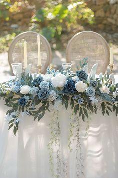Blue Wedding Receptions, Blue Wedding Decorations, Blue Wedding Centerpieces, Blue Wedding Flowers, Wedding Flower Arrangements, Floral Arrangement, Blue Wedding Colors, Color Themes For Wedding, Long Wedding Tables