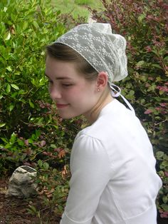 Ladies Ivory Lace Head Covering with Tie Backs
