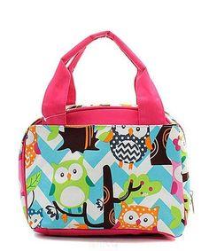"Chevron Owl Aqua Hot Pink 9"" Insulated Lunch Bag Box Lunchbox"