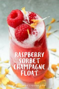 The Quick and Easy Raspberry Sorbet Champagne Float Still trying to beat the beat? This boozy sorbet float is calling your name. The raspberry and champagne dessert goes well with any hot day and will surely not disappoint! Cocktail Desserts, Best Cocktail Recipes, Easy Cocktails, Summer Cocktails, Champagne Sorbet, Champagne Drinks, Champagne Breakfast, Wine Mixed Drinks, Desserts In A Glass