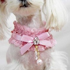 1 pcs Pet Cat Dog Lace Pearl Pendant Collar Princess Necklace Neck Dog Necklace Collar Pink Size: L ** Continue to the product at the image link.