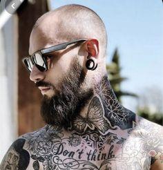 Bald With Beard, Sexy Beard, Wayfarer, Tatting, Ray Bans, Mens Sunglasses, Hair Styles, Plugs, Ink