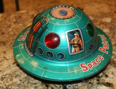 This is my Rare Vintage Battery Operated Space Patrol X-17 Modern Toys Japan Tin Toy Saucer