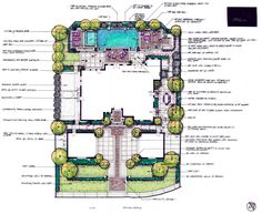 Urban landscape design on a tight lot using small lawns as defining borders.