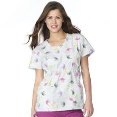 951-594, Ladies, Scoop Neck Top, 2 Pockets, Sweet Innocence Scrubs, Floral Tops, Scoop Neck, Pockets, Lady, Sweet, Women, Fashion, Work Uniforms