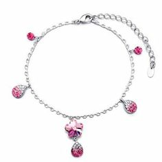 Pugster Silver Chain Dangle October Birthstone Light Rose Flower Drop Swarovski Crystal Ankle Bracelet Anklet Lobster Clasp Pugster. $17.99. 9 Inch to 10 inch Length Adjustable Anklet. Free Gift Box. Made with Swarovski Elements. The perfect accessory for evening or day wear. Money-back Satisfaction Guarantee. Save 20% Off!