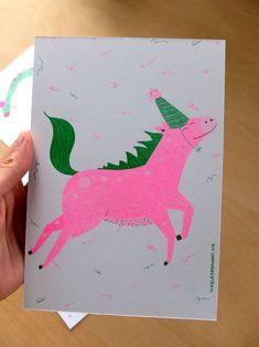 Nadia de Donno / Risography A5: 4 CHF unicorn - illustration - green - pink Unicorn Illustration, Chf, Graphic Design, Green, Handmade, Hands