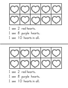 Valentine's Day theme emergent reader for combinations of 10.