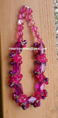 Pink and Purple Glass and plastic Beads Women by RoxArtCreations, $26.00