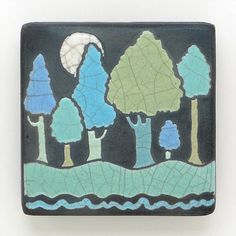 Trees and Moon ceramic handmade tile