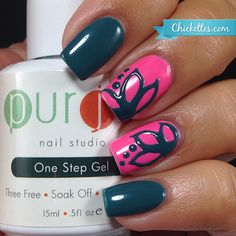 https://Chickettes.com Floral Nail Art using Purjoi One Step Gel Polish