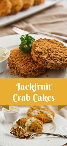 Jackfruit Vegan Crab Cakes: Jackfruit adds a flaky texture to these vegan crab(like) cakes, made rich with tofu or white beans for a soy-free option. Crab Cakes, Whole Food Recipes, Cake Recipes, Cooking Recipes, Dairy Free Recipes, Vegetarian Recipes, Gluten Free, Healthy Recipes, Tofu