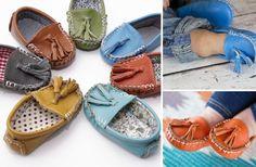 Genuine Leather Moccs - Cute Fabric Lining! - Main Photo