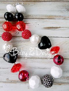 Valentine's Day Red White and Black Heart Chunky Necklace by babyzdesigns