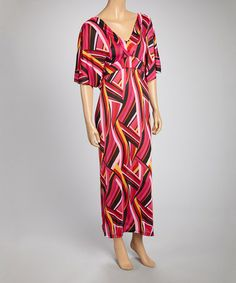 Loving this Pink & Yellow Abstract V-Neck Maxi Dress on #zulily! #zulilyfinds