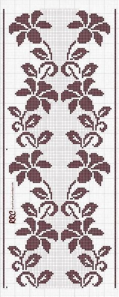 This Pin was discovered by sel Filet Crochet Charts, Crochet Cross, Knitting Charts, Crochet Stitches, Crochet Patterns, Cross Stitch Borders, Cross Stitch Flowers, Cross Stitch Designs, Cross Stitching