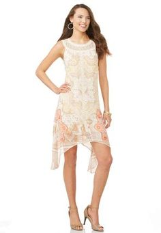 Cato Fashions Crochet Trim Tile Print Dress-Plus #CatoFashions