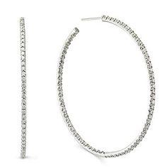 Roberto Coin 18k White Gold Diamond Hoop Earrings from Borsheims