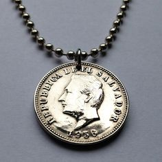 1956 El Salvador 5 centavos Salvadoreño coin pendant charm necklace Central America San Salvador Francisco Morazan Cuzcatlecs No.001464 by coinedJEWELRY on Etsy