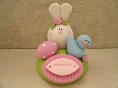 Easter Bunny and Bluebird Figurine by countrycupboardclay on Etsy