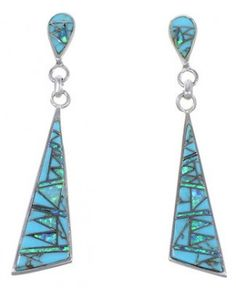 Turquoise Jewelry   Opal Inlay Earrings   Sterling Silver Jewelry