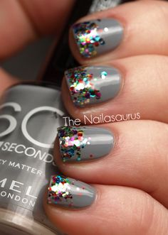 Nail art:  Silver nails with glitter confetti tips nail art design
