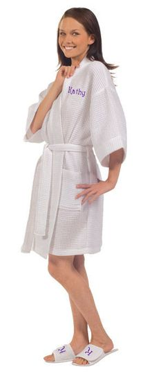 Embroidered Personalized Spa Robe and Slippers $63.70