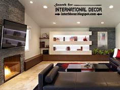 Modern living room interior design with stylish built in shelves of plasterboard with LED lighting and TV wall ideas