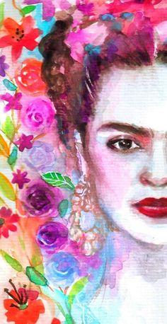 Retrato de Frida Kahlo hat ein Mano en Acuarela Archivo para Descargar Al Instante Watercolor Portraits, Watercolour Painting, Painting Canvas, Frida Kahlo Portraits, Kahlo Paintings, Art Paintings, Frida Art, Diego Rivera, Mexican Art