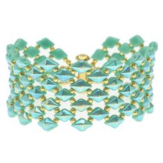 DiamonDuo Fish Scales Bracelet in Teal - Beading Projects & Tutorials - Beading Resources | Beadaholique