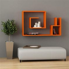 Salyangoz Wall Mount Bookcase, Orange
