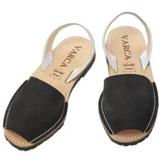Black/Silver Textured Leather/Nubuck Sandals by the original Menorcan Sandals Company #Varca #Fashion #Shoes