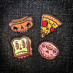 Dead Junk pins. Available in my store now. All hard enamel, all around 25mm wide or tall, all limited to 100 pieces. #sandwich #hotdog #pizza #donut #stickers #decal #stickergame #undead #zombie #skull #dead #junkfood #pinlife #lapelpin #lapelpins #pin #pins #pinsifig #pincommunity #merchgame #shopindie #streetwear #pinlord #pindesign #pingame #pinlife #patchgame #characterdesign #illustration #art #arte #patchgame