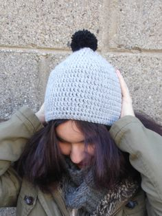 Grey Crochet Beanie by LaBelleChloe on Etsy, €18.00