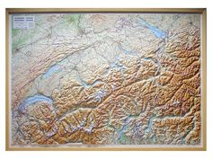 Raised relief map of Switzerland.