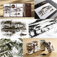 設計兼插畫師 Andrew Gorkovenko 利用茶葉作畫。如常「繪畫」一幅作品已經很棒,乾脆再用這個元素設計茶葉的包裝盒,效果才是最好。