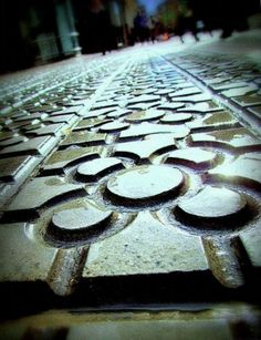 Bilbao sidewalk, with its typical tile. Spain Travel Guide, Basque Country, Spain And Portugal, Giveaway, Travelling, Buildings, Sweet, Suspension Bridge, Places