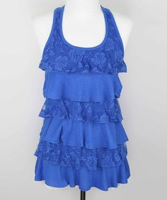 Look at this Zoe Royal Blue Lace Ruffled Tank - Women on #zulily today!