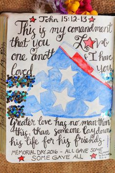 John 15:12-13, May 31, 2016, carol@belleauway.com, watercolor, Illustrated Faith pen, double-side tape with glitter, tip-in page, bible art journaling, bible journaling, illustrated faith