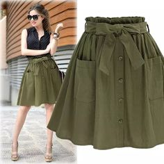 Skirt evase High Elasticity Waist Pocket Skirt Women Army Green Black Cotton 2018 New Summer A-line Casual Pleated Mini Skirt Women Clothing Cute Skirts, A Line Skirts, Mini Skirts, Women's Skirts, Casual Skirts, Summer Skirts, Summer Outfits, Green Skirt Outfits, Pleated Mini Skirt