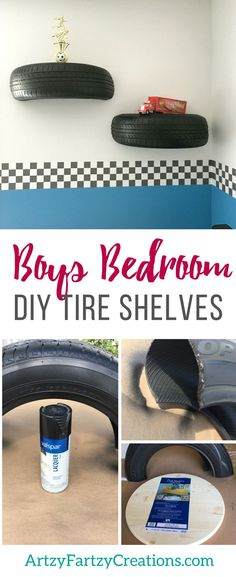 DIY Tire Shelves for a Racing Themed Boys Bedroom by Cheryl Phan | Lightening McQueen Cars Bedroom ideas | Wall Shelves