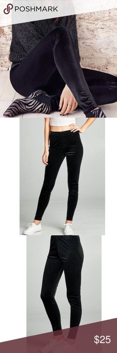 VELVET LEGGINGS Black velvet leggings . 92% POLYESTER 8% SPANDEX. NEW. Option to Bundle and save . Pants Leggings