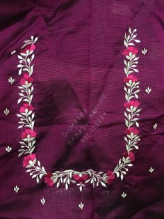 Sudhasri hemaswardrobe Cutwork Blouse Designs, Best Blouse Designs, Simple Blouse Designs, Embroidery Neck Designs, Embroidery Suits Design, Embroidery Flowers Pattern, Blouse Neck Designs, Hand Work Blouse Design, Hand Designs