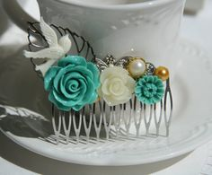 Cabochon utopia bridal bride hair pin comb romantic vintage affair modern flowers antique victorian green white bird leaf pearl filigree by AdoredByYou on Etsy